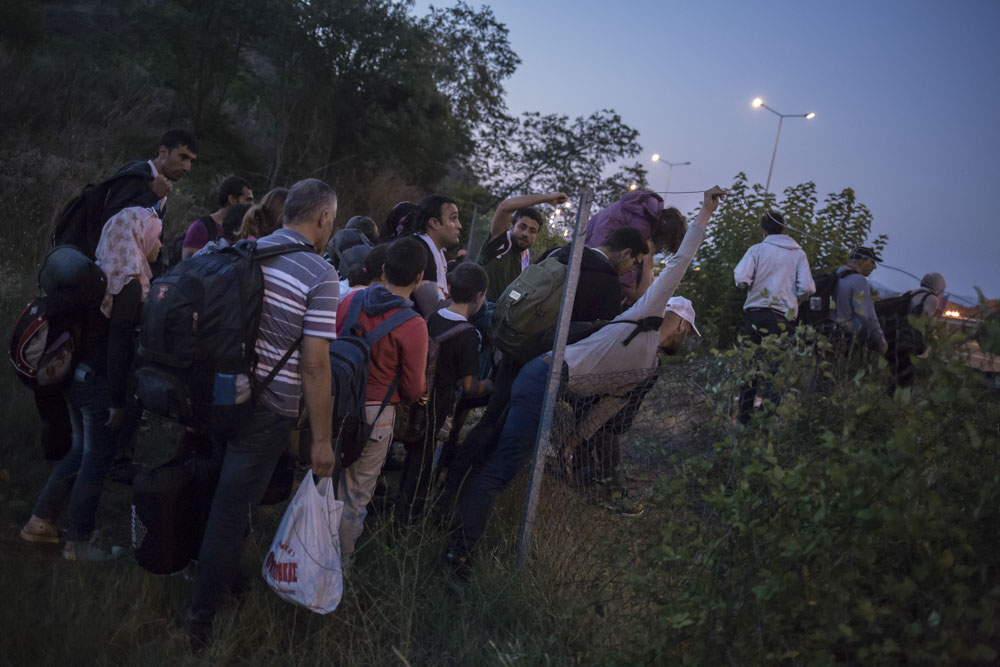The group walked for the night to reach a safe area. Gevgelia, Macedonia. July 6, 2015.