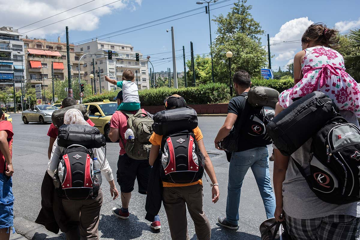Athena, July 4, 2015. The group is going on a bus to Thessaloniki, the last city where they are allowed to travel before the border area.