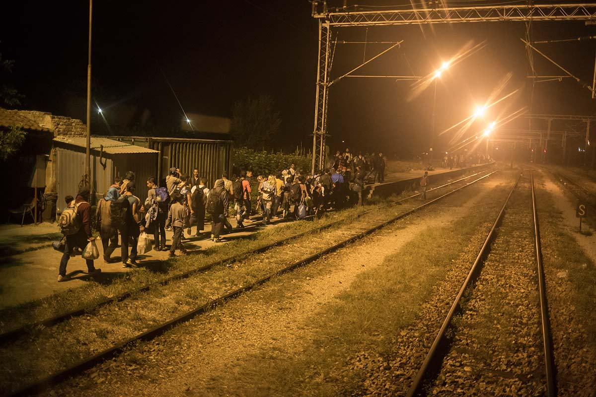 Slanishte, July 7, 2015.  the group arrived in train to the last nation in Northern Macedonia before the border with Serbia. The police took them down so they have to try and cross by foot.