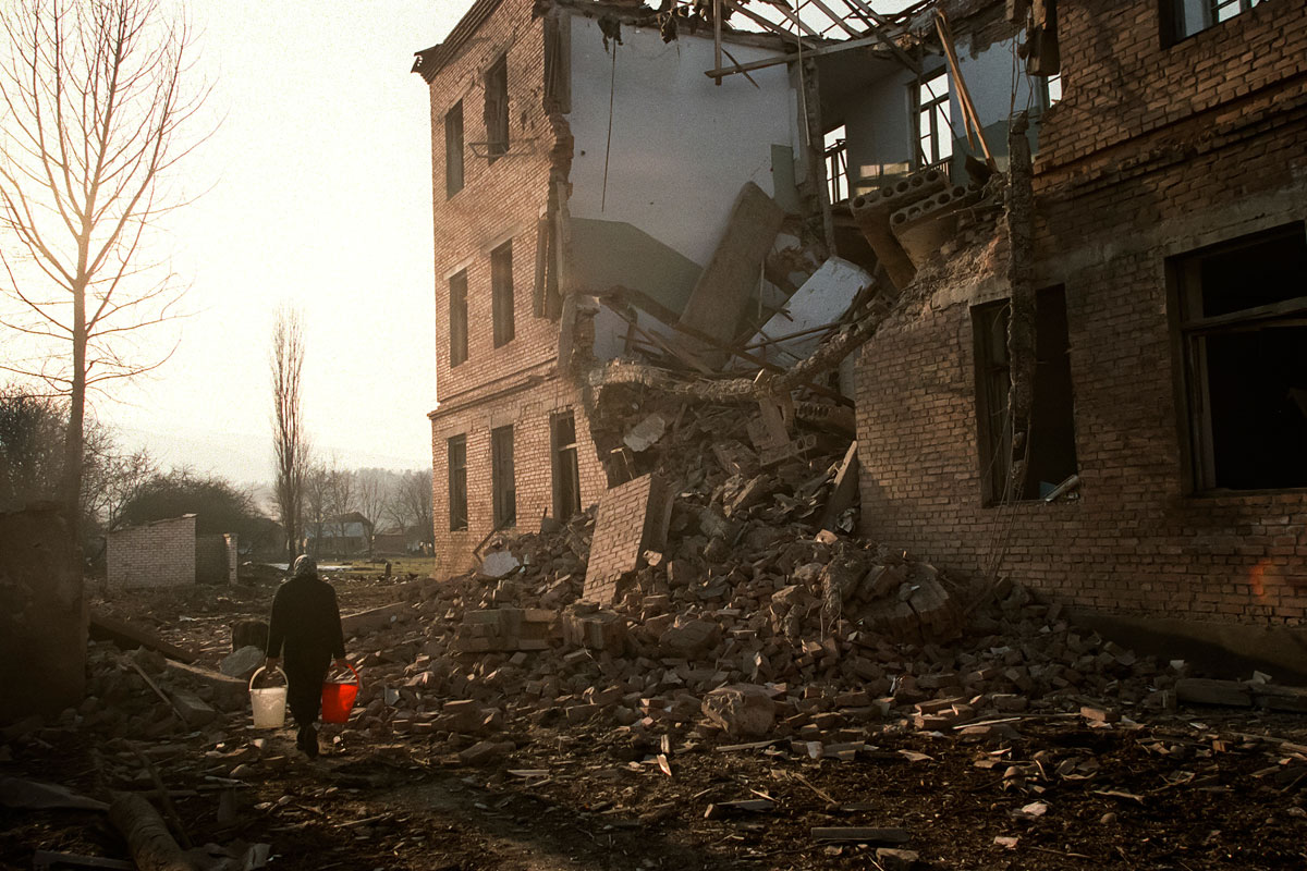 December 19th 1999.  A school dating from the Soviet era and destroyed by an Russian air raid.