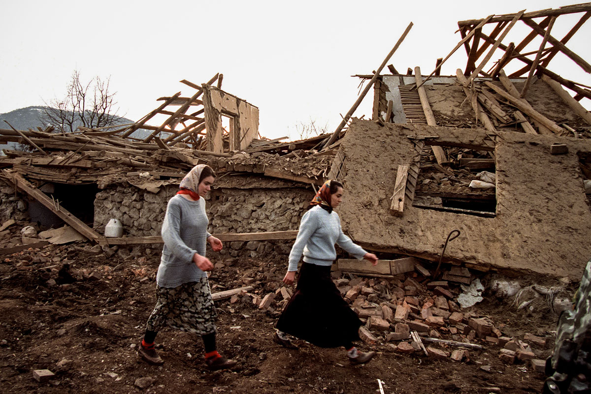 December 19th 1999.  Farmhouses ruined in a Russian aerial attack.