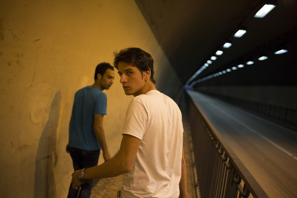 Luqman and Fawad have just crossed the border between Italy and France. Menton tunnel, France. August 2, 2013.